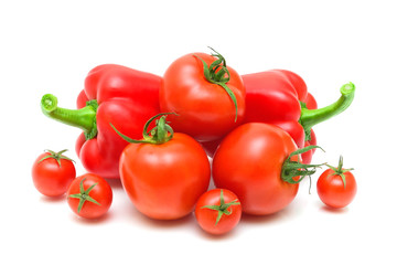 tomato varieties and pepper isolated on white background