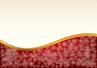 Red background decorated with snowflakes and golden ribbon