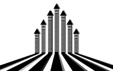 City streets with buildings - arrows, vector