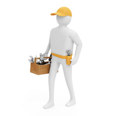 3d Man with Toolbox isolated on white background