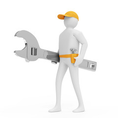 3d Man with Wrench isolated on white background