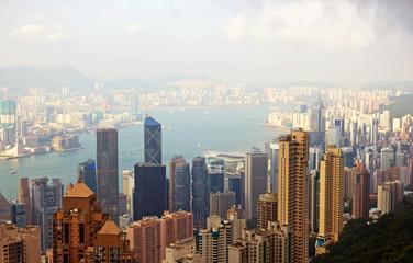 China, Hong Kong cityscape from the Peak_