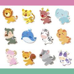 cute cartoon animal icon set