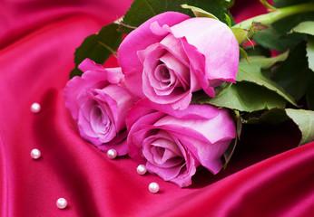 Roses on satin background