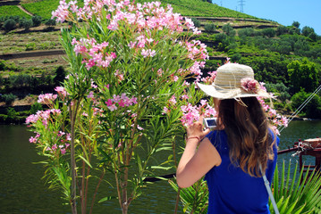 Girl with flowers in douro region