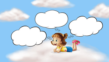 A girl lying and thinking in the sky