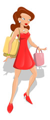 Fashion Girl with Shopping Bags Vector