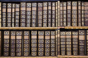 Old books in the Library of Stift Melk, Austria.