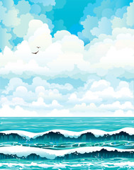 Group of clouds and turquoise sea with waves.