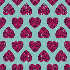 Retro seamless pattern ruby hearts