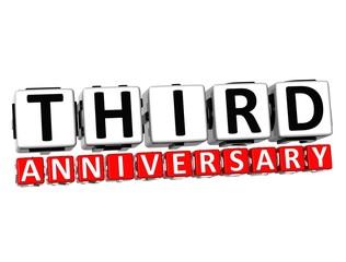 3D Third Anniversary Button Click Here Block Text