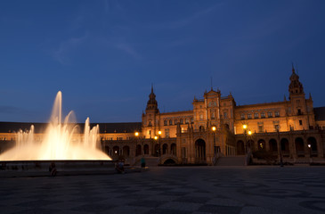 Fototapete - Plaza de Espana in Sevilla at night