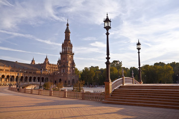 Fototapete - Plaza de Espana in Sevilla at sunset