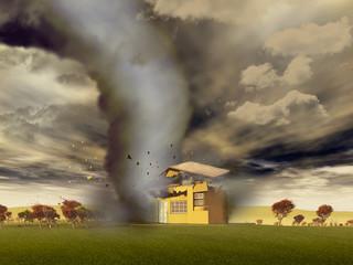 Tornado destruyendo una casa
