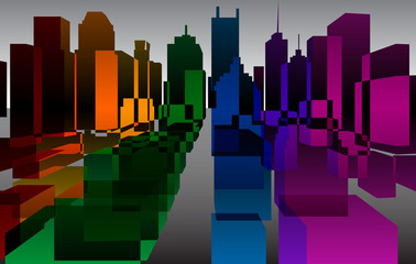 Colorful downtown background, vector