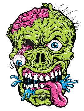 Detailed Zombie Head Illustration