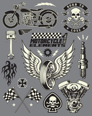 Motorcycle Vector Elements Set