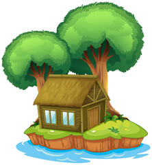 A house and a tree on an island