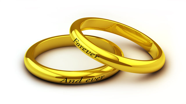 Anillos de boda con texto Forever and ever