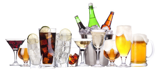 Poster de jardin Bar different images of alcohol set isolated