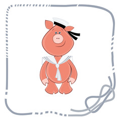 background for postcard piglet sailor