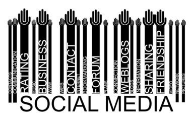 SOCIAL MEDIA text bar-code, vector