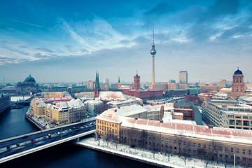 Aluminium Prints Berlin Berlin Skyline Winter City Panorama with snow and blue sky