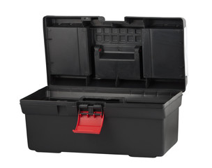 Black plastic box for tools