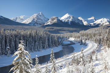 Railway in Canadian Rockies