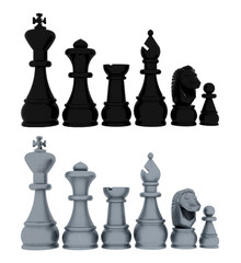 Chess blacks and whites - 3D