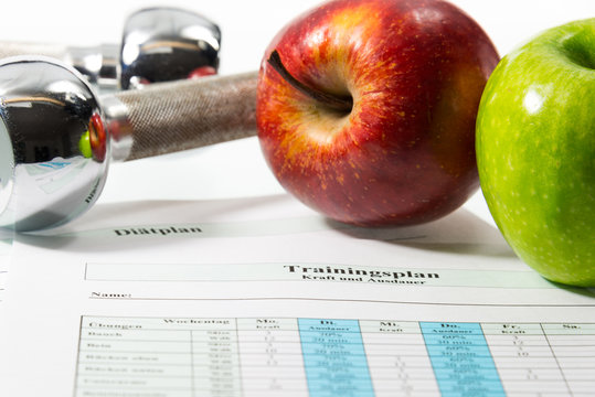 Äpfel und Trainingsplan
