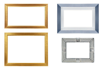 Set of golden and silver frame isolated on white background
