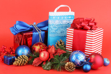 New Year composition of New Year's decor and gifts