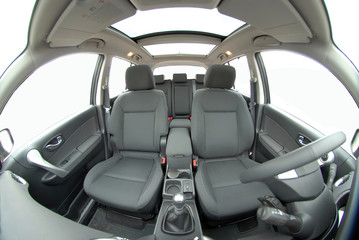 modern car interior with fisheye lens