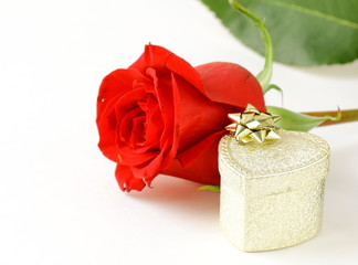 fresh roses and gift for the holiday Valentines Day