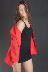 girl in red and black