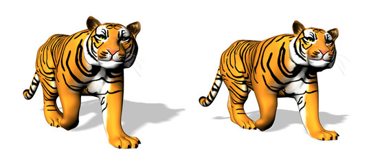 Two 3D tigers