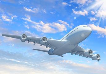 White passenger plane in the blue sky