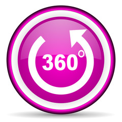 360 degrees panorama violet glossy icon on white background