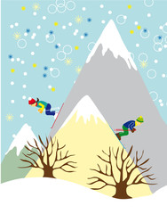Two Skiers on High Mountains Background