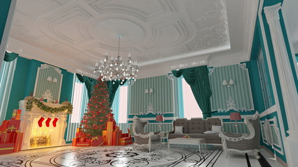 Holiday room with a Christmas tree