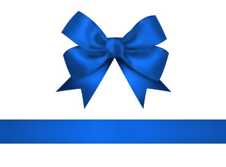 Blue bow and ribbon isolated on white background. Closeup llustr