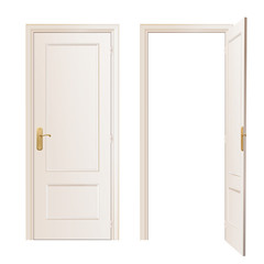 Realistic close and open door on white background. Vector design