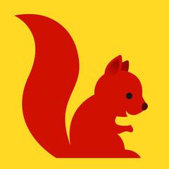 Happy little red cartoon squirrel