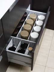 Open kitchen drawer