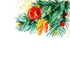 Fir Branch with Christmas Decoration