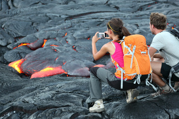 Hawaii lava tourists