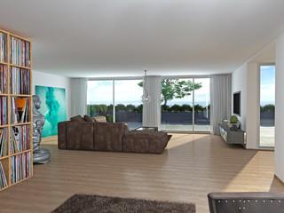 Moderne Villa Hanglage Leder Sofa Vinyl Regal terrasse