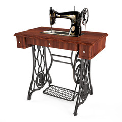 The old vintage sewing machine isolated