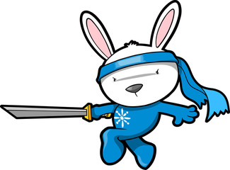 Cute Bunny Rabbit Ninja Vector